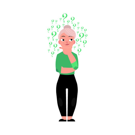 Cartoon old caucasian elderly grey-haired woman in casual green clothing standing in thoughtful pose holding chin thinking with questions above head portrait. Isolated vector illustration