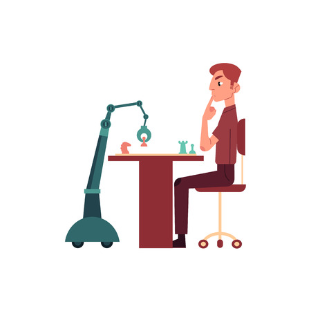 Artificial intelligence concept with young man and robot playing chess - concept of friendly relations between machine and human. Flat futuristic vector illustration with person and android. Illustration