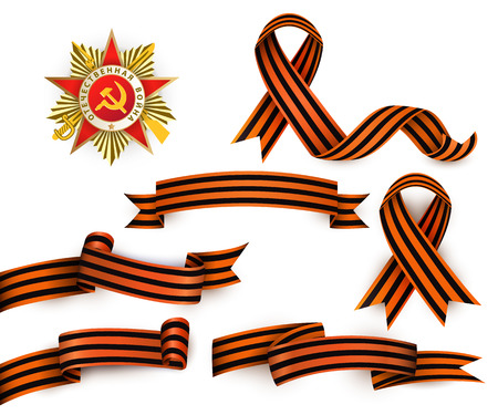 Set of realistic Saint George ribbons and Order of Patriotic War, symbols of Russian Victory day, vector illustration isolated in white background. Russian Georgian ribbons and order of patriotic war Иллюстрация