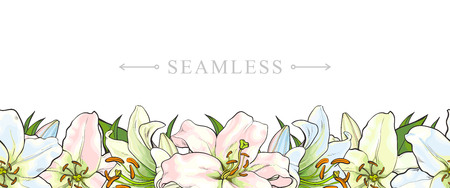 Endless, seamless border made by light blue, pink and yellow lily flowers, sketch, hand drawn vector illustration isolated on white background. Иллюстрация