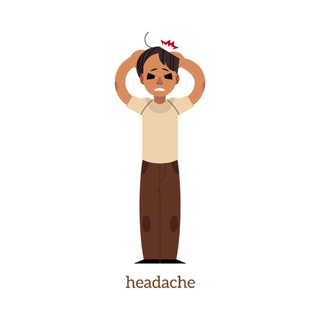 Adult man holding head with painful face expression with eyes closed. Illustration