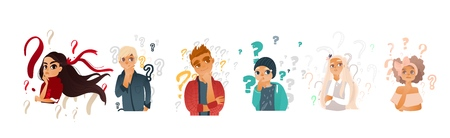 Cartoon teen people with questions set. Young caucasian women with ribbon in hair, men thinking. Male female characters standing thoughtful pose holding chin questions above head. vector illustration