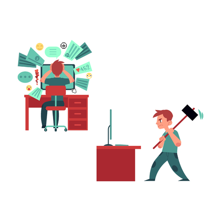 Puzzled young man, teenager sitting at workplace at desktop computer with various application icon holding head, angry man breaking monitor with hummer. Information overload vector concept.