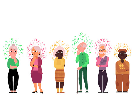 Cartoon old people with questions set. Elderly caucasian and black women, men thinking. Male female characters standing thoughtful pose holding chin questions above head. vector illustration