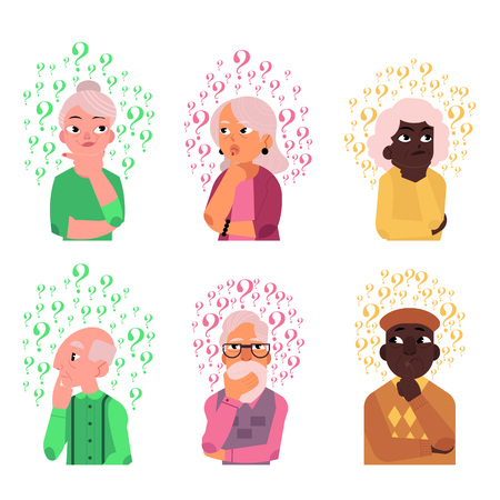 Cartoon old people with questions set. Elderly caucasian, black women, men thinking portraits. Male female characters standing thoughtful pose holding chin questions above head. vector illustration