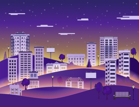 City paper landscape in night with multistorey apartment houses and office buildings, public park on dark blue sky background with clouds - flat style colorful cityscape. Vector illustration.