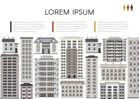 Cityscape poster with apartment, office building, skyscraper houses. City modern architecture background design template with space for your text. Vector flat illustration