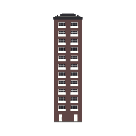 City skyline element - multi storey apartment house front view in flat style isolated on white background. Exterior of high-rise building for real estate and property concept. Vector illustration