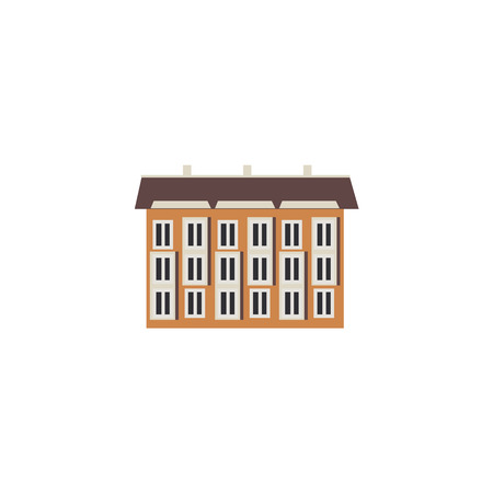 City element - three-storey apartment or public building with windows front view in flat style isolated on white background. House exterior for real estate and property concept. Vector illustration. Ilustração