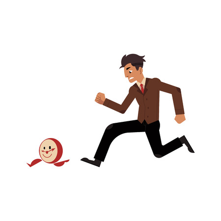Businessman and time management, deadline concept. Male character, manager office worker in uniform in hurry, chasing for flying clock with legs. Vector illustration