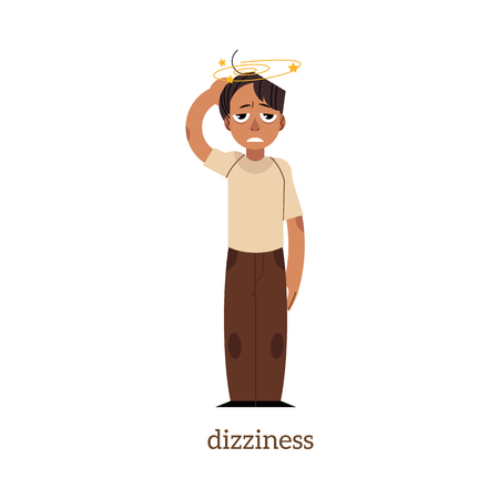Adult man with painful face expression with dizziness. Heat strope symptoms concept. Flat male character worker manager with health problem. Vector illustration Иллюстрация