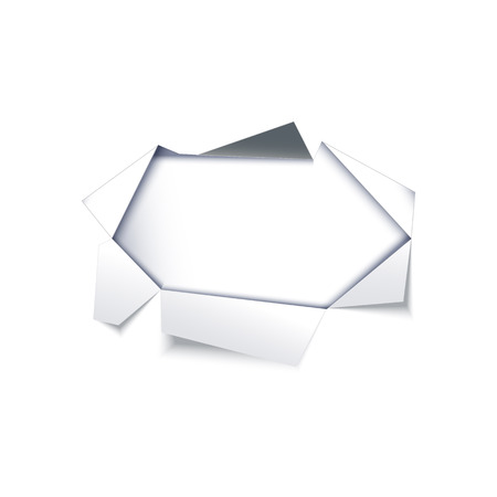 Hole in paper white sheet with torn ripped silver edges. Notebook sheet page with ripped edges with holes opening white background. Vector flat illustration isolated for your design. Stock Illustratie
