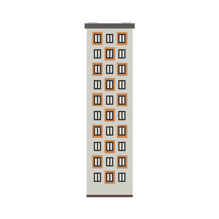 City multistorey apartment house front view isolated on white background. Flat high-rise building exterior for real estate and property concept. Vector illustration