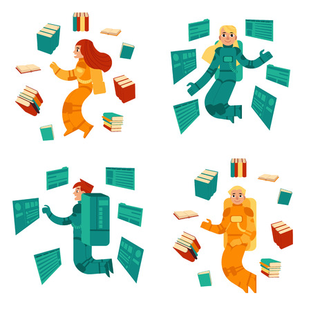 Researcher in information occupation set - men and women in cosmonaut costume fly surrounded by books and documents with charts. Isolated flat vector illustration of search and analysis concept.