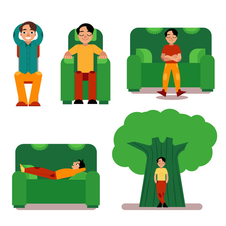 Young man relaxing set - male character sitting or lying on furniture and standing near green tree. Boy restores his strength during break or after work, isolated flat vector illustration.