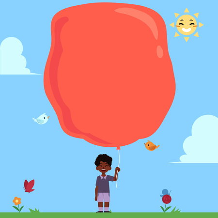 Little african boy with extremely big red balloon for copy space on blue sky background. Child with balloon in summer sunny day, cartoon colorful vector illustration.