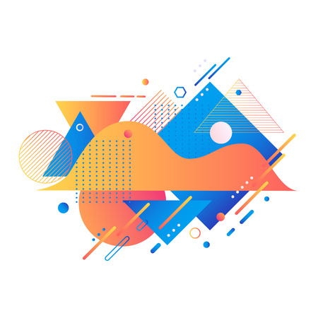 Trendy background template with vibrant gradient orange blue red violet color abstract geometric shapes. Vector modern poster, banner, presentation layout, minimal style corporate identity backdrop.