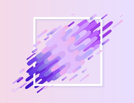 Glitched ultra violet banner with digital signal error effect with square frame. Modern design element with abstract stripes and shapes that looks like corrupted image, vector illustration.