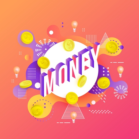 Trendy money poster, banner background template with golden coins, light bulbs on vibrant gradient red orange color abstract geometric shapes. Vector modern advertising layout, minimal style