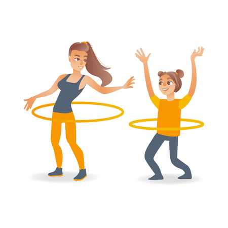 Cartoon young blonde girl kid and adult woman doing hula hoop rotating workout exercises. Active lifestyle female character doing sport. Isolated vector white background illustration