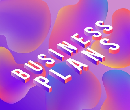 Business Plans isometric text design with volumetric letters on abstract colorful gradient background with fluid color bubble shapes. Bright trendy ultra violet vector illustration. Illustration