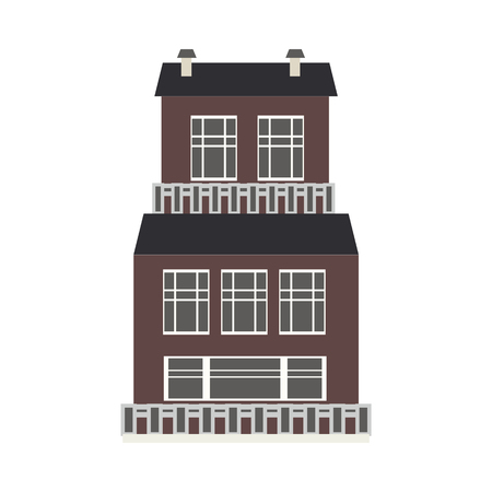 City element of three-storey apartment, public building or shop front view in flat style isolated on white background - house exterior for real estate and property concept. Vector illustration. Illustration