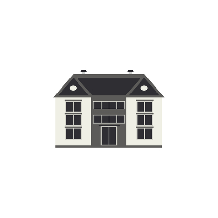 City landscape element of three-storey apartment, public building or shop front view isolated on white background - flat house exterior for real estate and property concept. Vector illustration. Ilustração