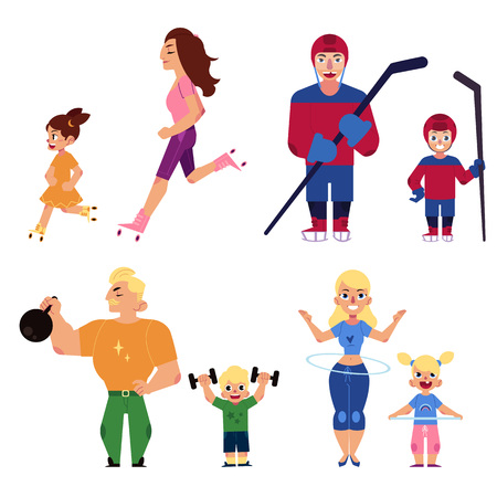 Sport family set with parents and children engaged in same sports isolated on white background. Children imitate healthy and active lifestyle of parents. Cartoon vector illustration.