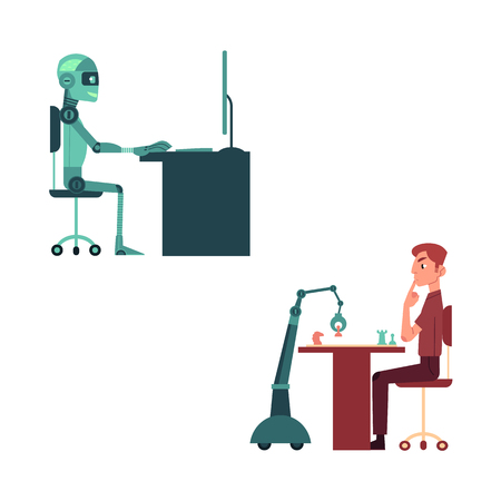 Artificial intelligence images set with young man and robot playing chess and mechanical android at computer - friendly relations between machine and human concept. Flat futuristic vector illustration