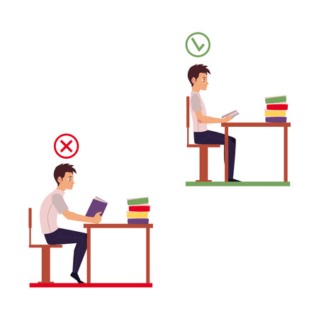 Man reading in incorrect sitting position - table too far, shoulders rolled forward, back hunched, cartoon vector illustration isolated on white background. Incorrect sitting position infographics Иллюстрация