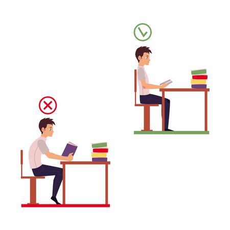 Uomo che legge in posizione seduta errata - tavolo troppo lontano, spalle rotolate in avanti, schiena curva, fumetto illustrazione vettoriale isolato su sfondo bianco. Infografica posizione seduta errata
