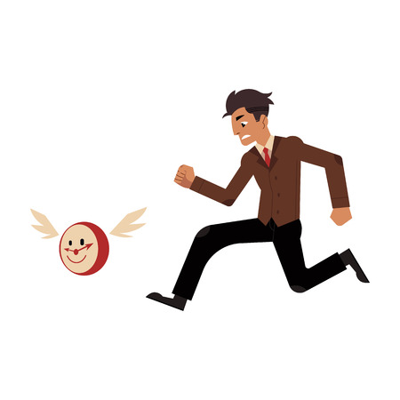 Businessman and time management, deadline concept. Male character, manager office worker in uniform in hurry, chasing for flying clock with wings. Vector illustration Stock Vector - 100846488
