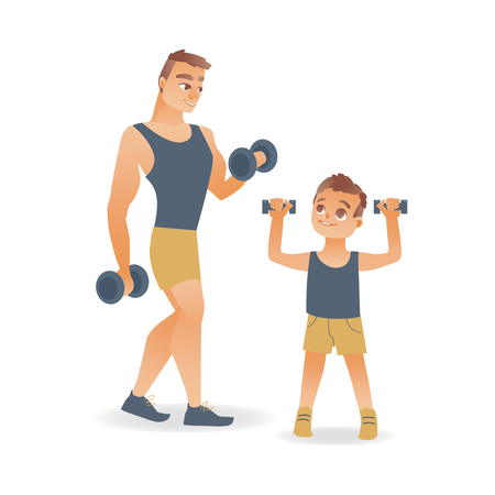 Cartoon young slim man in athletic clothing and boy kid in shorts doing dumbbells workout exercises. Active lifestyle male characters doing sport. Isolated vector illustration