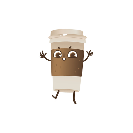 Takeaway plastic cup of coffee cartoon character dancing and smiling isolated on white background. Joyful paper mug with hot invigorating drink - cute smiley of beverage in vector illustration.