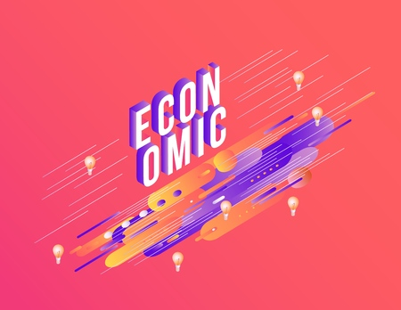 Trendy economic poster, banner background template with purple red orange color abstract blended geometric shapes, light bulbs icon. Vector modern advertising layout illustration