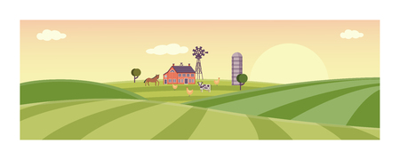 Rural landscape with farm field with green grass, trees. Farmland with house, windmill and livestock - horse, cow and chickens. Outdoor village scenery, farming background. Vector illustration
