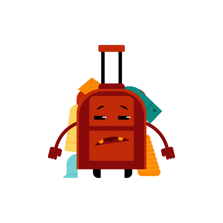 Overloaded with clothes frustrated suitcase cartoon character isolated on white background. Bulging over-full luggage bag with messy put things, vector illustration. Çizim