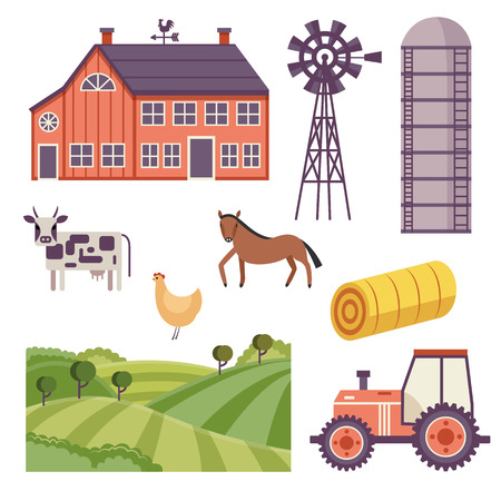 Rural design elements set. Livestock animals - cow, horse and chicken on green countryside landscape field, hay stack and ranch building house, agriculture facilities such as windmill adn water tower