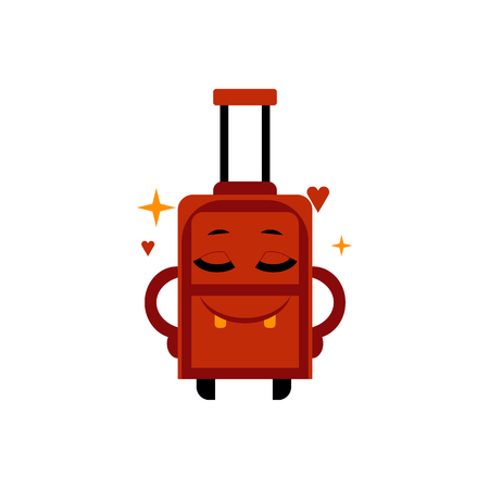Delighted happy suitcase cartoon character with smile on face ready for journey isolated on white background. Vector illustration of dreaming luggage bag for vacation or business traveling.