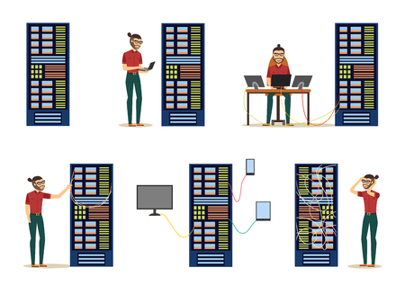 Various server room images with data center and young system administrator configuring computer network and connecting cables set. Isolated flat cartoon vector illustration. Vettoriali