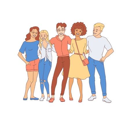 Diversity group of people hugs - hand drawn young men and women stay together with happy smiles isolated on white background. Vector illustration of friendship and togetherness concept in sketch style 向量圖像