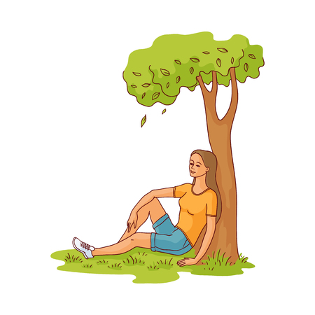 Young slim woman sitting under green tree on summer grass smiling having rest, relaxing after work or education. Sketch pretty girl resting outdoors. Vector isolated illustration