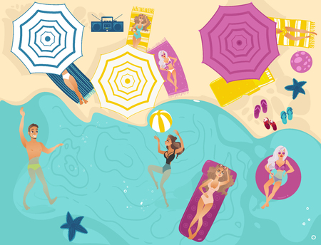Vector cartoon people swimming in beach with blue sea waves, sunbath at mattress, lounger. Vacation summer travelling holiday concept. Male female character having fun Isolated background illustration