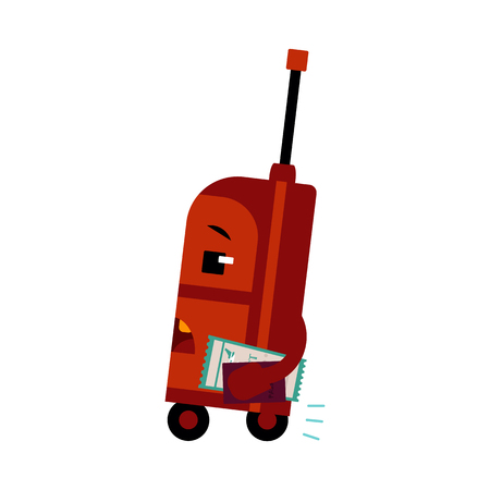 Suitcase cartoon character with ticket and passport in hurry for flight isolated on white background vector illustration of afraid to be late luggage bag for vacation or business traveling concept. Ilustracja