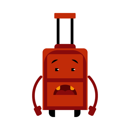 Upset suitcase cartoon character with sad emotion on face stands with downcast hands isolated on white background vector illustration of frustrated luggage bag for vacation or business traveling.