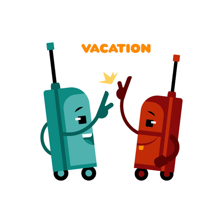 High five suitcases cartoon characters pair of happy and smiling ready for traveling luggage bags having fun before vacation journey isolated on white background, vector illustration.