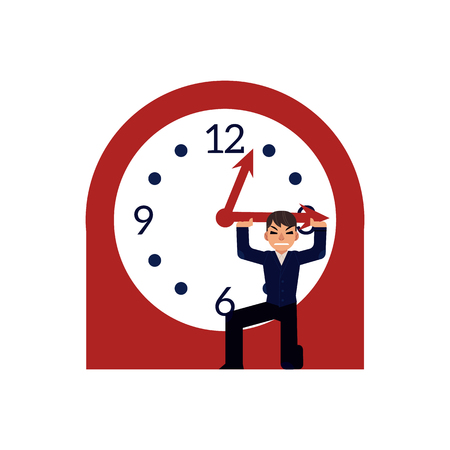 Businessman trying to stop time holding minute hand of big clock isolated on white background. Deadline and time management concept in flat cartoon vector illustration. Illustration