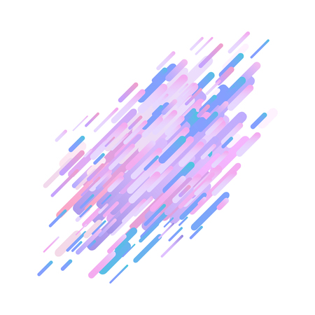 Glitched ultra violet stripes and shapes isolated on white background - modern design graphic abstract element with digital signal error effect, vector illustration.