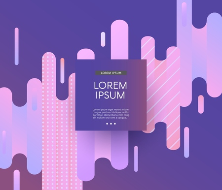 Glitch background with abstract geometric gradient shapes of pixel mosaic in modern ultra violet color and copy space on square badge. Vector illustration of trendy digital decay effect.