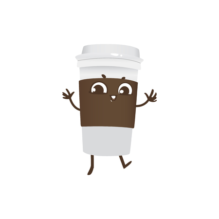 Takeaway plastic cup of coffee cartoon character dancing and smiling - joyful paper mug with hot invigorating drink isolated on white background. Cute smiley of beverage in vector illustration.